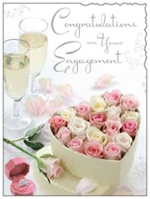 Jonny Javelin Congratulations On Your Engagement - Heart Box Of Roses Card