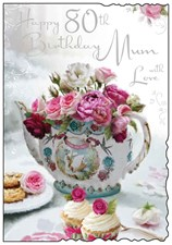 Jonny Javelin Birthday Mum 80th Card - Tea Pot & Roses