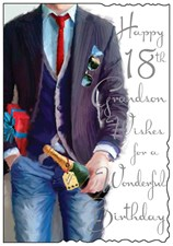 Birthday Age 18th Grandson Jonny Javelin Card - Present & Champagne