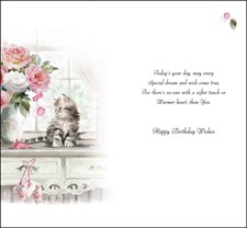Jonny Javelin Open Birthday Card - Cat And Flowers