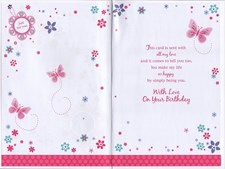 Birthday Wife Card - Butterflies And Flowers Design
