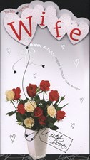 Birthday Wife Card - Roses Bouquet Design