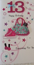 Birthday Age 13th 3-D Large Card - Bag and Shoes Design