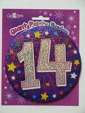Party Badge 14 Birthday '14 Today' Large Badge - Blue Stars