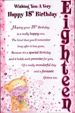 Birthday Age 18th 3-D Large Female Card - Bear & Flowers Design