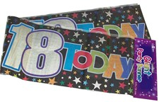 Party Banner Birthday '18th Today' Banner - Black Holographic