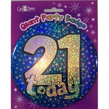 Party Badge 2 Birthday '21 Today' Large Badge - Blue Stars