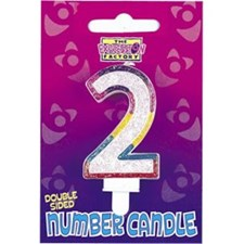 Multicoloured Age 2 Number Candle
