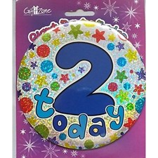 Party All Ages Badge 2 Birthday '2 Today' Large Badge - Stars & Swirls