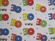 Gift Wrap Birthday 30th Today Wrapping Paper - 2 Sheets & Matching Gift Tag