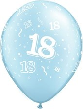 Blue Light Age 18 Latex Balloons - Pack of 25