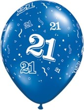 Blue Sapphire Age 21 Latex Balloons - Pack of 25