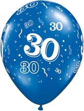 Blue Sapphire Age 30 Latex Balloons - Pack of 25