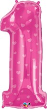 """Qualatex Magenta '1' Hearts Giant 38"""" Number Foil Balloon"""