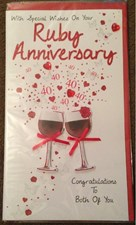 Anniversary 40th 3-D Large Card – Wine Glasses Design