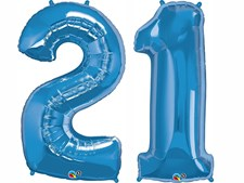"""Qualatex Blue Giant 34"""" Number '21' Foil Balloon Pack"""