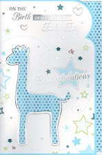 Birth Of Your Baby Boy Card – Blue Giraffe