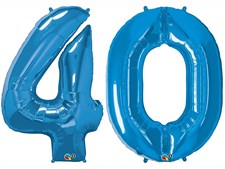 "Qualatex Blue Giant 34"" Number '40' Foil Balloon Pack"