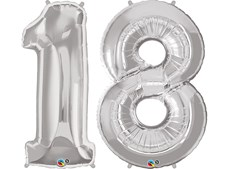 "Qualatex Silver Giant 34"" Number '18' Foil Balloon Pack"