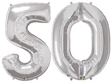 "Qualatex Silver Giant 34"" Number '50' Foil Balloon Pack"
