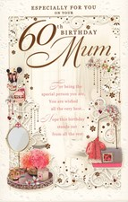 Birthday Age 60th Mum Card - Make up & Perfume