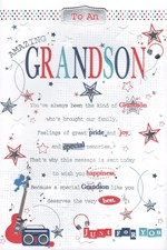 Birthday Grandson Card - Guitar and Stars Pop Up