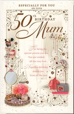 Birthday Age 50th Mum Card - Make up & Perfume