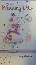 Wedding Day 3-D Large Card – Wedding Cake and Rings Design