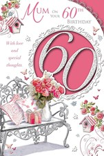 Birthday Age 60th Mum Card - Flower Vase & Roses