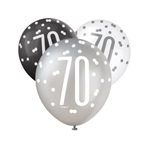 70th Birthday Black, Silver & White Glitz  Latex Balloons 6pk
