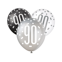 90th Birthday Black, Silver & White Glitz  Latex Balloons 6pk