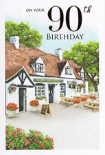 Birthday Age 90th Card - Pub