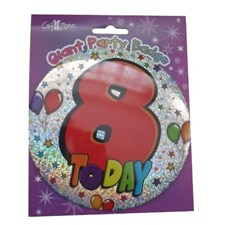 Party All Ages Badge 8 Birthday '8 Today' Large Badge - Stars & Balloons