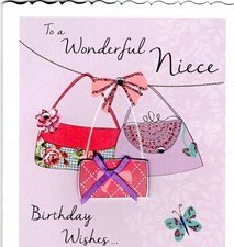 Birthday Niece 3-D Card - Handbags