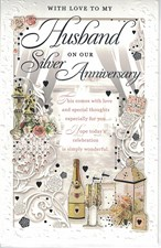 Anniversary Husband 25th Silver Anniversary Card – Champagne and Swirls