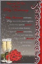 Anniversary 40th Open Card - Roses & Champagne