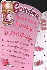 Birthday Grandma Card - Cute Bear & Recipe