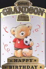 Birthday Grandson Card - Cute Bear & Trophy