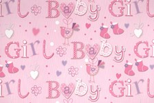 Gift Wrap Baby Girl Tiny Shoes Deluxe Paper - Pack of 2 Sheets