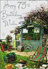Birthday 75th Male Card - Garden Scene