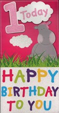 Birthday 1 Today Card - Cute Hippo & Clouds