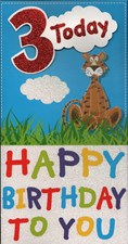 Birthday 3 Today Card - Cute Tiger