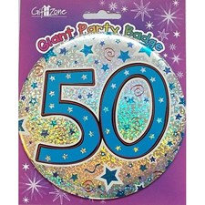 Party Badge 50 Birthday '50 Today' Large Badge - Stars & Swirls