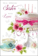Birthday Sister Card - A Beautiful Birthday Cake Adorned With Flowers!