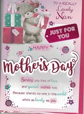 Mother's Day Nan Card - Cute Bear Next To Stack Of Presents And Flowers
