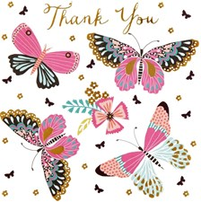 Thank You Card Pack of 36 - Butterflies & Flowers