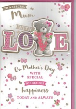 Mother's Day Card - Cute Bear Surrounded By Flowers And Butterflies