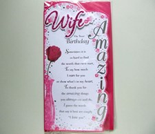 Birthday Wife Card - Rose