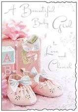Birth Of Your Baby Girl Card - Pink Baby Shoes