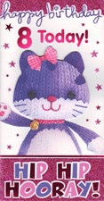 Birthday 8 Today Card - Cute Kitten